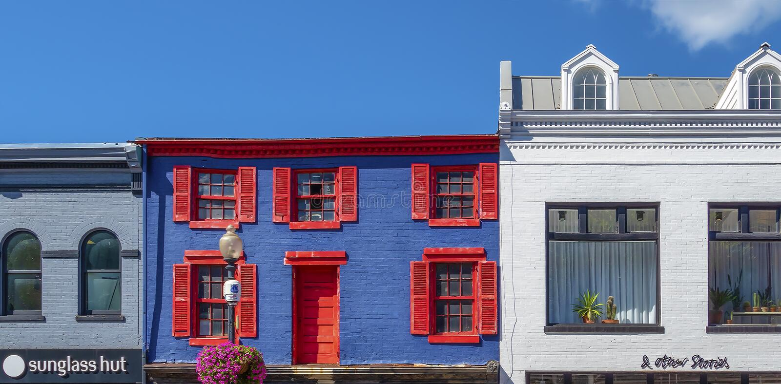 Facades of typical colorful buildings in Georgetown, Washington stock photo