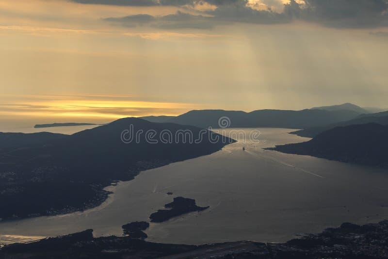 Georgeus widok na zatoce Kotor w Montenegro obraz stock