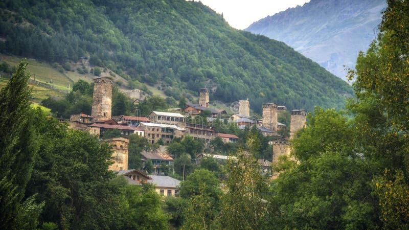 Georgië, Gruzia, Mestia-rand, watchtowers royalty-vrije stock foto's