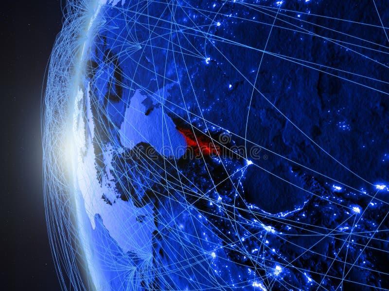 Georgië op blauwe Aarde met netwerk vector illustratie