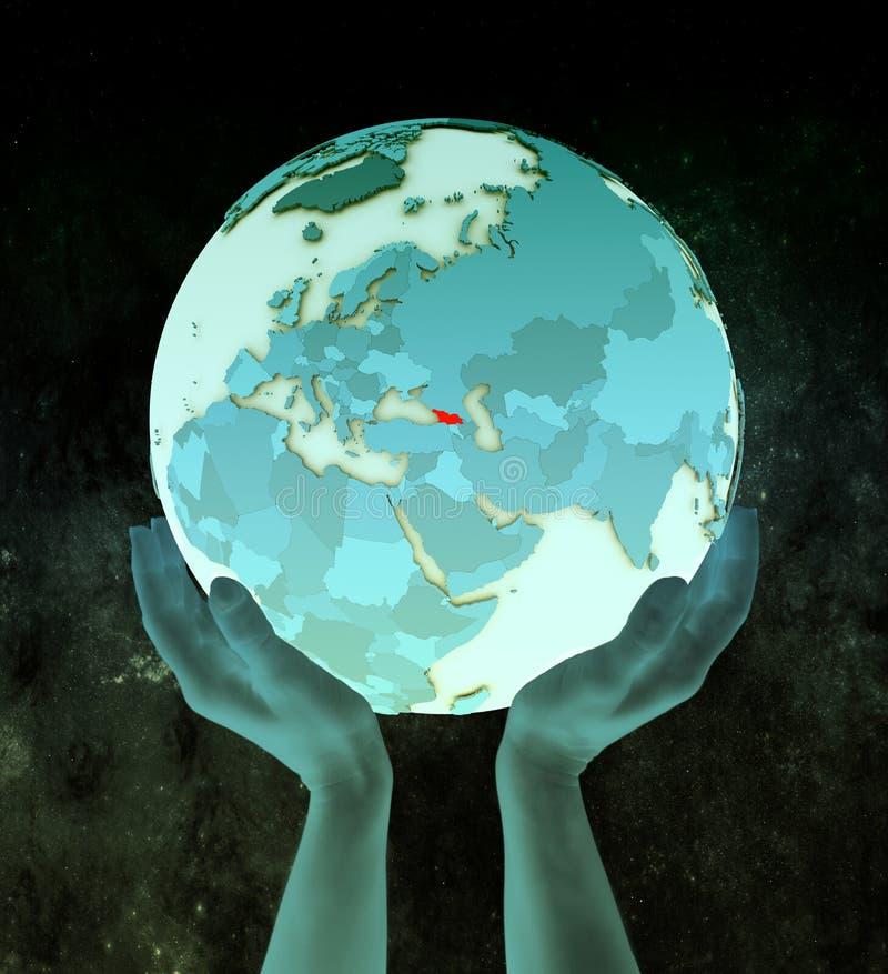 Georgië op blauwe bol in handen vector illustratie