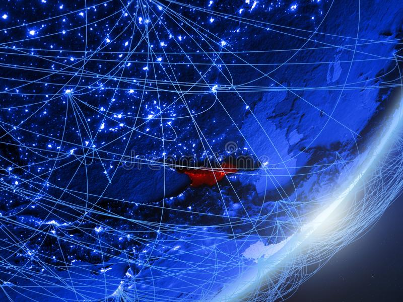 Georgië op blauwe blauwe digitale Aarde vector illustratie