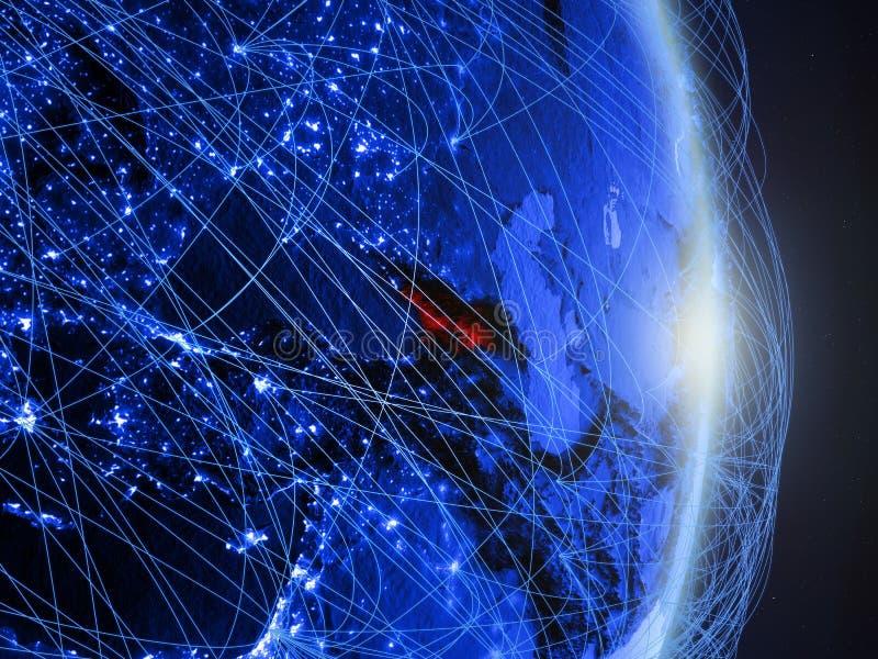 Georgië op blauwe blauwe digitale Aarde stock foto