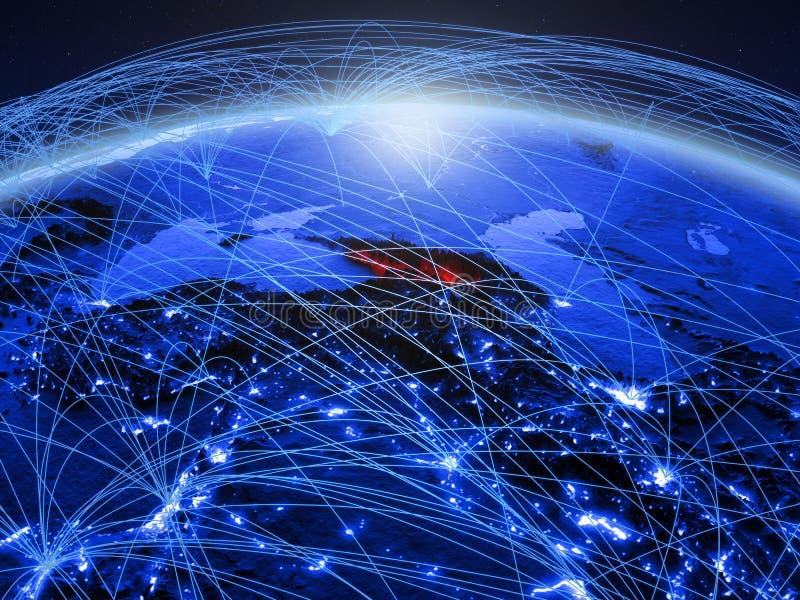 Georgië op blauwe digitale aarde met internationaal netwerk die mededeling, reis en verbindingen vertegenwoordigen 3d royalty-vrije stock foto's