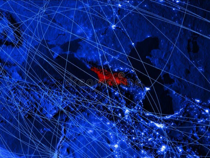 Georgië op blauwe digitale kaart met netwerken Concept internationale reis, mededeling en technologie 3D Illustratie royalty-vrije illustratie