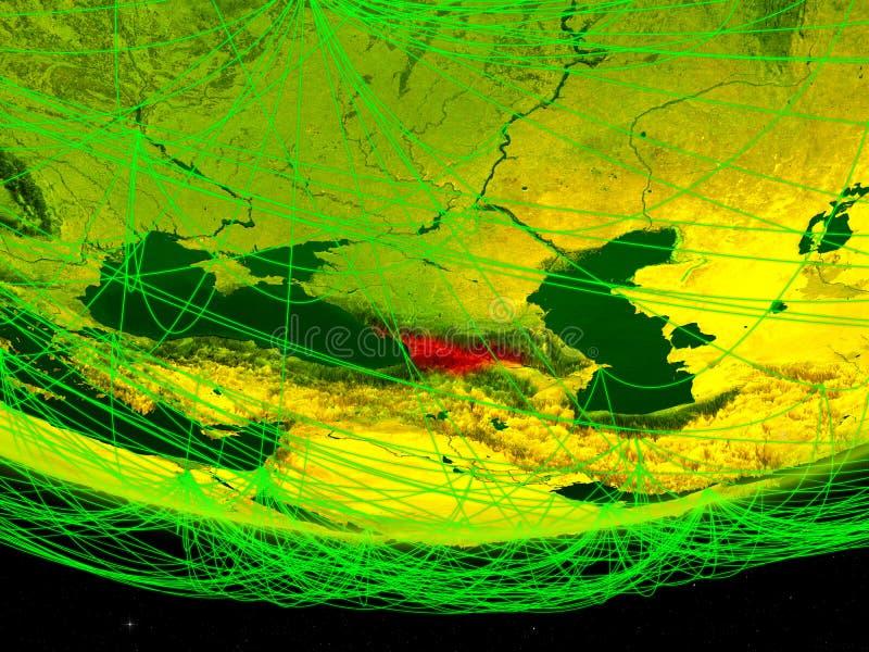 Georgië op groen model van aarde met netwerk die digitaal tijdperk, reis en mededeling vertegenwoordigen 3D Illustratie elementen stock fotografie