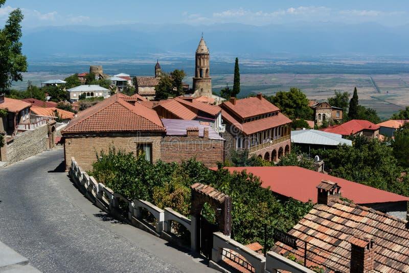 Georgië, Sighnaghi: Stad van Liefde in de Alazani-Vallei stock foto
