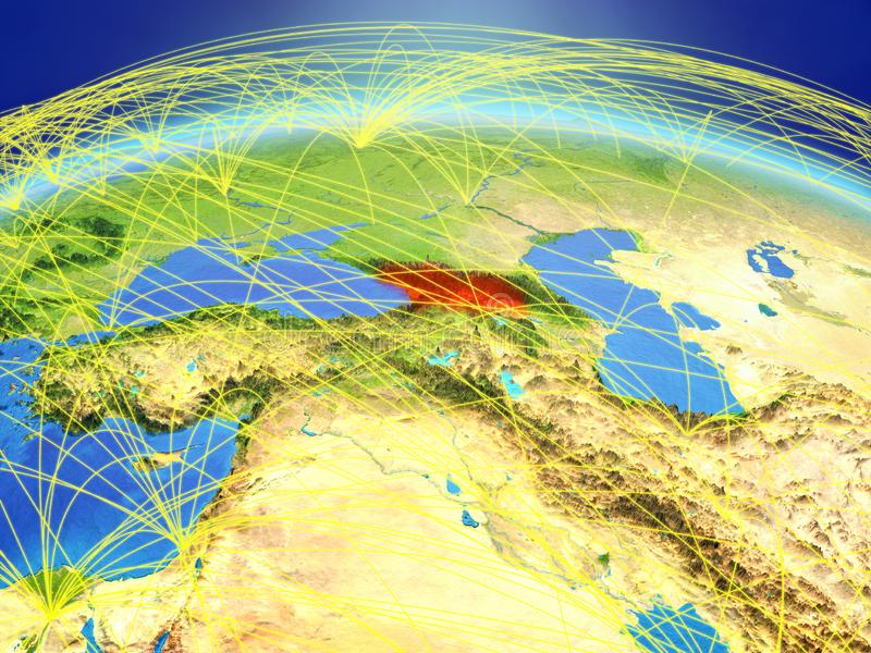 Georgië ter wereld met netwerk royalty-vrije stock foto's
