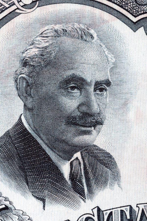 Georgi Dimitrov Mikhaylov stående från bulgariska pengar royaltyfria bilder