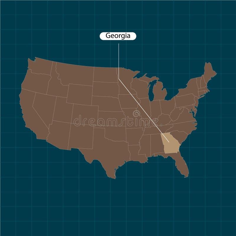 georgia États de territoire de l'Amérique sur le fond foncé État distinct Illustration de vecteur illustration stock