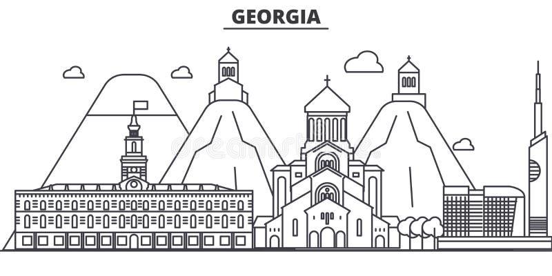 Georgia architecture line skyline illustration. Linear vector cityscape with famous landmarks, city sights, design icons. Editable strokes stock illustration
