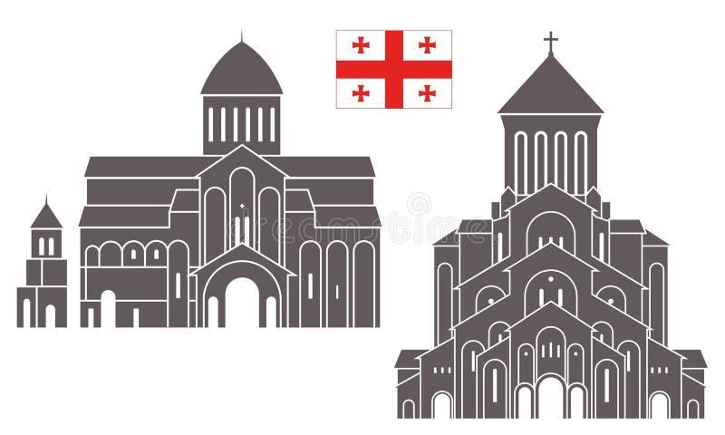 georgia arkitektur stock illustrationer