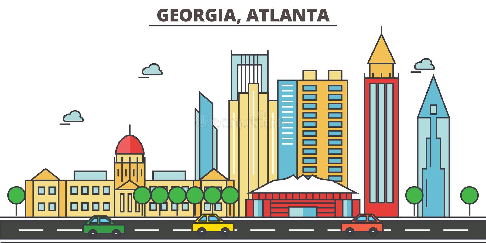 Georgia, Atlanta.City skyline. Architecture buildings, streets silhouette, landscape panorama, landmarks. Editable strokes. Flat design line vector vector illustration
