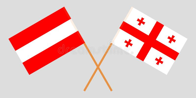 Georgia and Austria. Crossed Georgian and Austrian flags. Official colors. Correct proportion. Vector illustrationn vector illustration