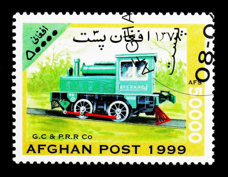 Georgia Coast & Piedmont Railroad steam locomotive, Locomotives. MOSCOW, RUSSIA - DECEMBER 21, 2017: A stamp printed in Afghanistan shows Georgia Coast & royalty free stock photo