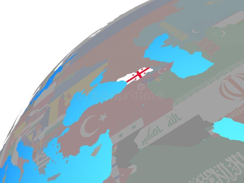 Georgia con la bandera en el globo stock de ilustración