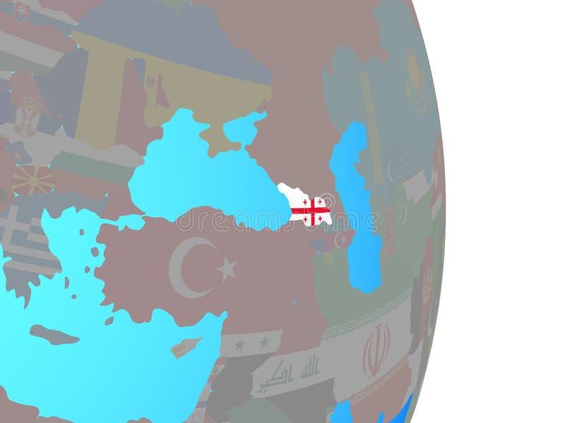 Georgia con la bandera en el globo ilustración del vector