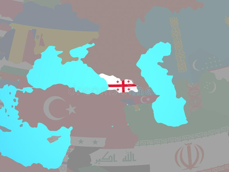 Georgia con la bandera en mapa libre illustration