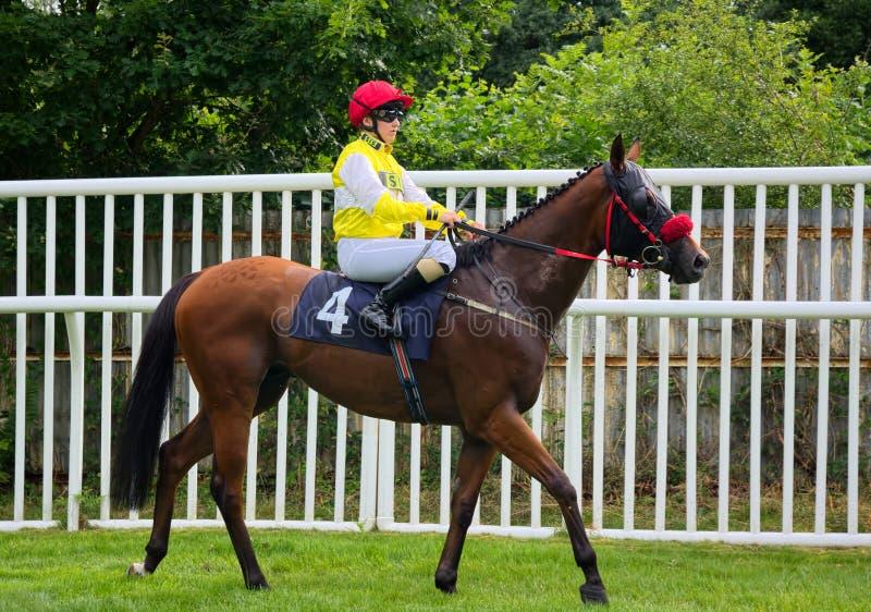 Georgia Dobie BRITISCHER Jockey Pferderennen des Lehrlings stockbilder