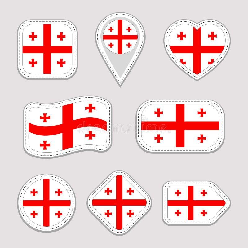 Georgia Flag Vector Set Colección georgiana de las etiquetas engomadas de las banderas Iconos geométricos aislados Insignias de l libre illustration