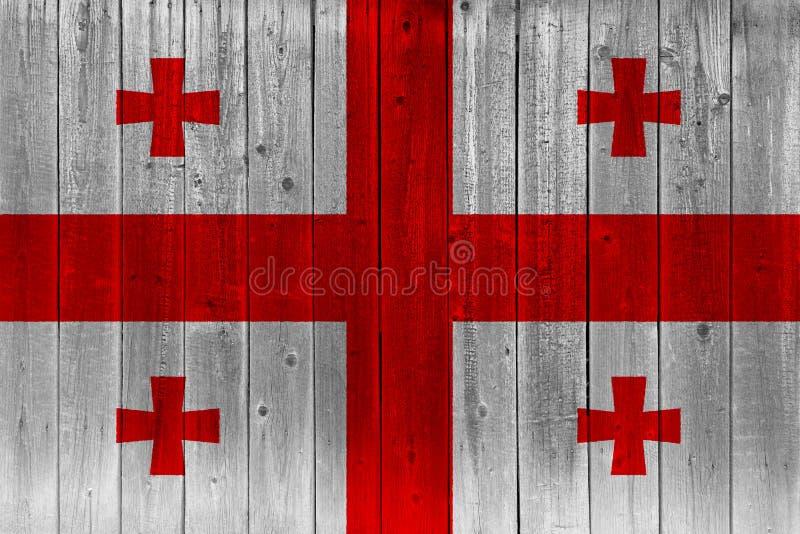 Georgia flagga som målas på gammal träplanka royaltyfri illustrationer