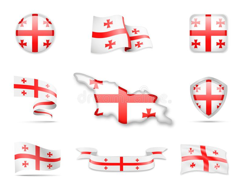 Georgia Flags Collection ilustração royalty free