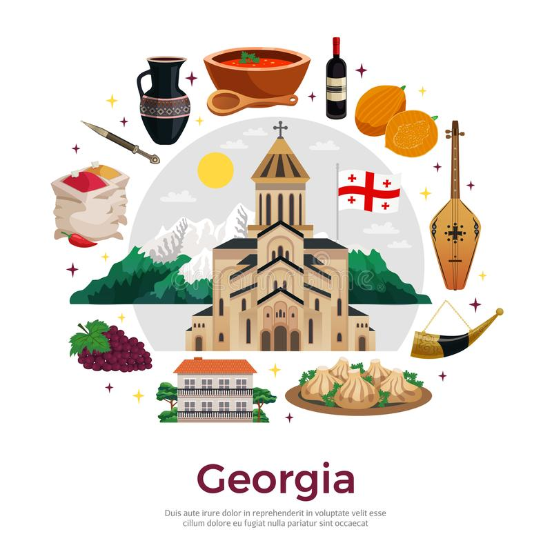 Georgia Flat Composition Poster illustration stock