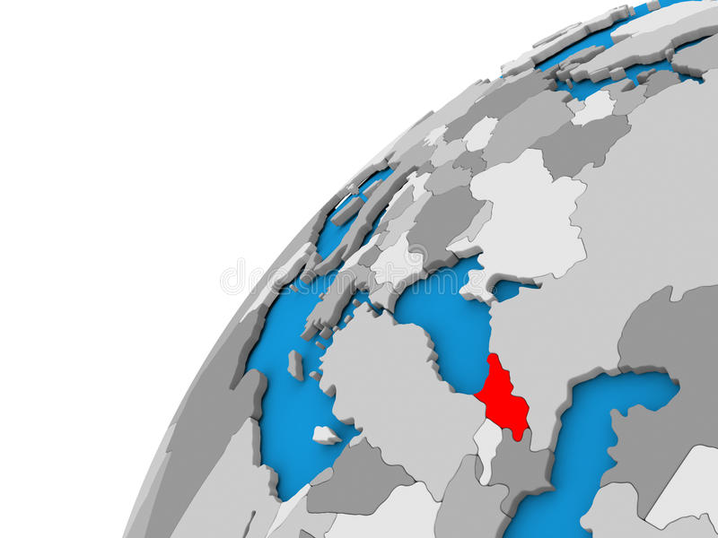 Georgia on globe in red. Georgia highlighted in red on globe with visible country borders. 3D illustration stock illustration