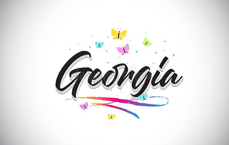 Georgia Handwritten Vector Word Text con le farfalle e variopinto mormorano illustrazione di stock