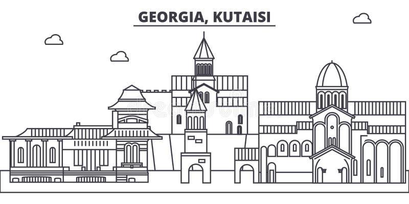 Georgia, línea ejemplo de Kutaisi del vector del horizonte Georgia, paisaje urbano linear con las señales famosas, vistas de Kuta ilustración del vector