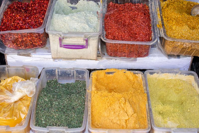 Georgia, the local bazaar. Sale of national dry seasonings royalty free stock photo