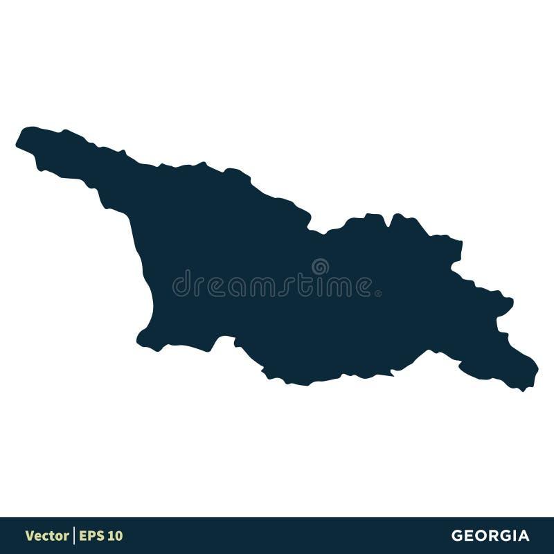 Georgia - los pa?ses de Europa trazan dise?o del ejemplo de la plantilla del icono del vector Vector EPS 10 stock de ilustración