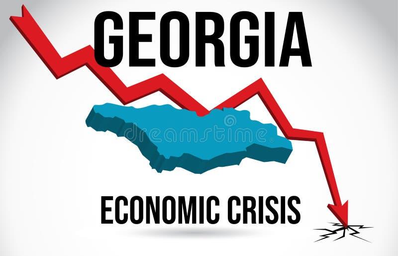 Georgia Map Financial Crisis Economic Collapse Market Crash Global Meltdown Vector. Illustration royalty free illustration