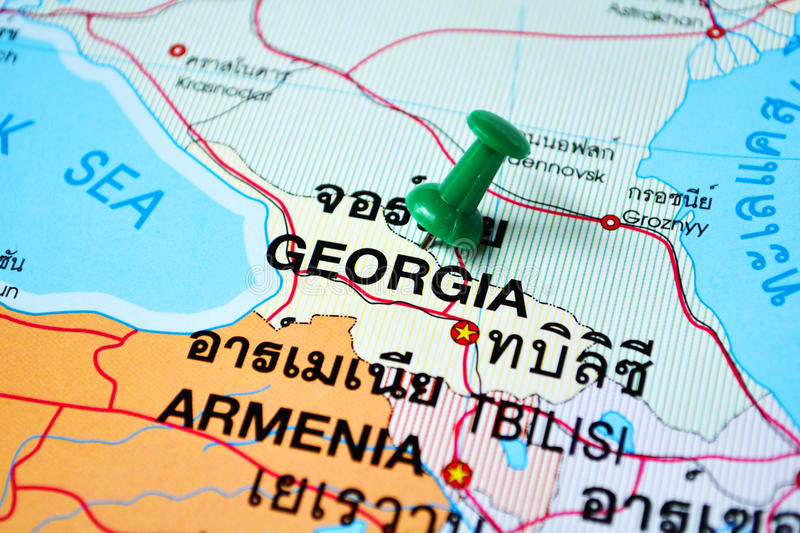Georgia map. Macro shot of georgia map with push pin royalty free stock photo