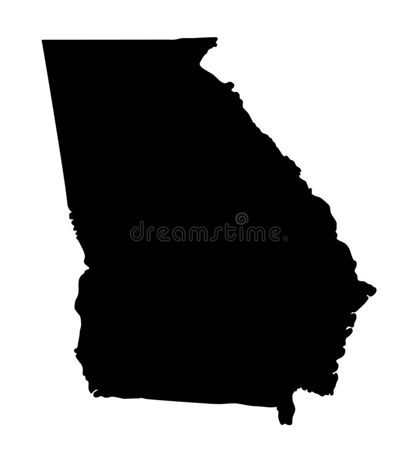 Georgia map silhouette vector illustration. Isolated on white background vector illustration