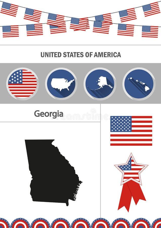 georgia mapa Set płascy projekt ikon nfographics elementów wi ilustracja wektor