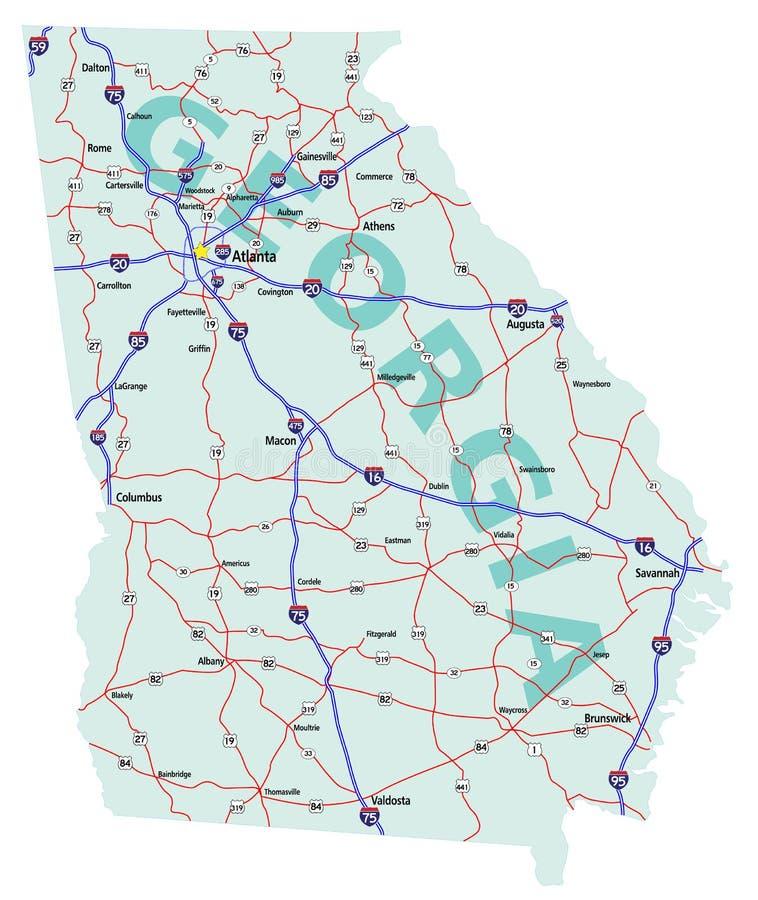 georgia międzystanowy mapy stan royalty ilustracja