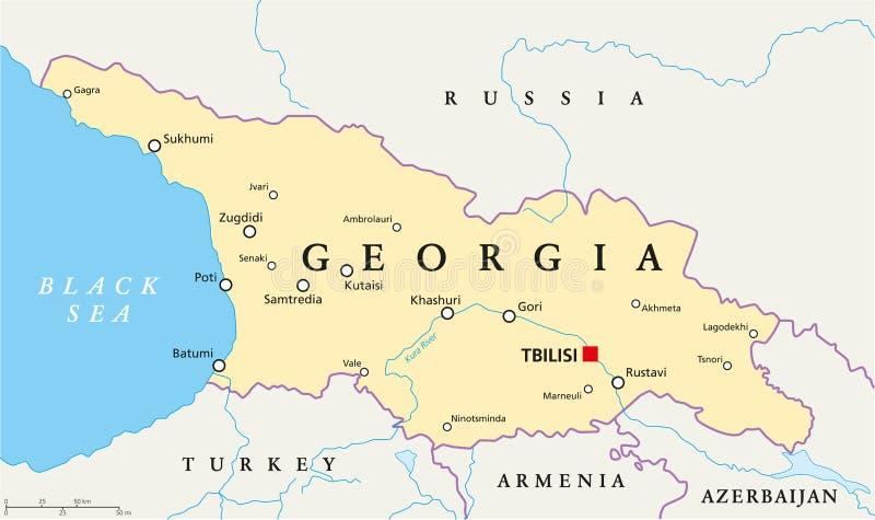 Georgia politisk översikt stock illustrationer
