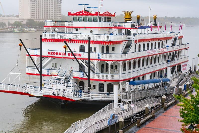 Georgia Queen Riverboat i Savannah arkivfoto