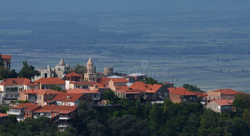 Georgia, Signagi eller Sighnaghi, den mest nätta staden i Kakheti arkivbilder
