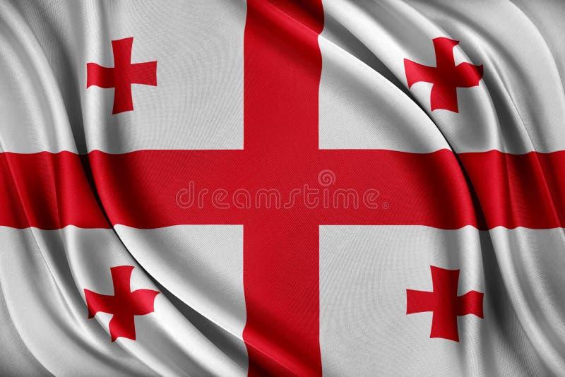 Georgia sjunker Flagga med en glansig siden- textur royaltyfri illustrationer