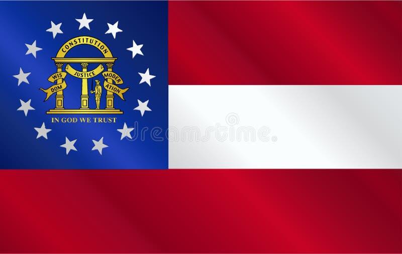 Georgia State Flag Gloss stock illustrationer