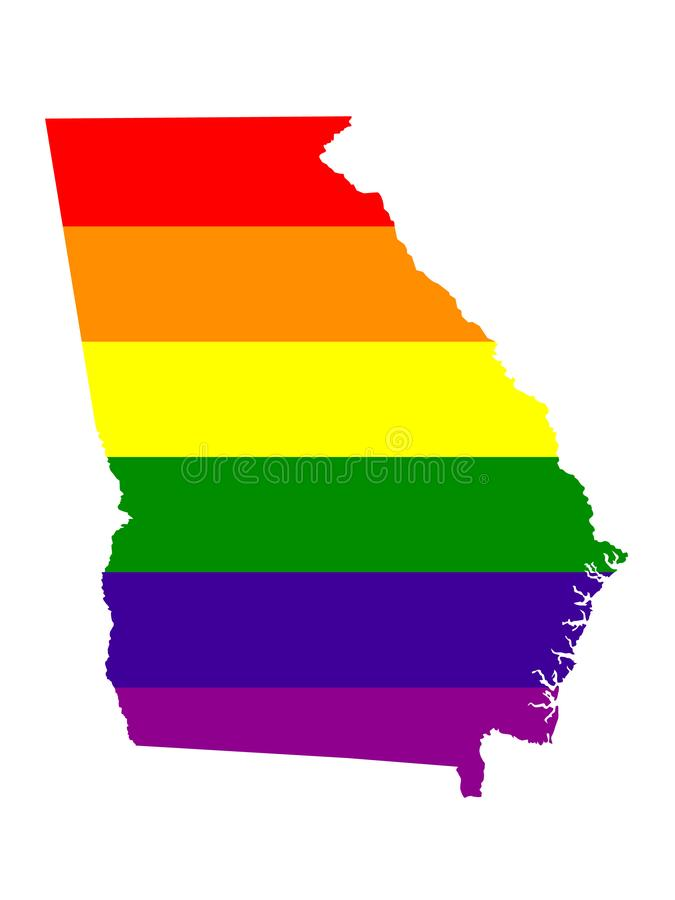 Georgia State map with LGBT flag royalty free illustration
