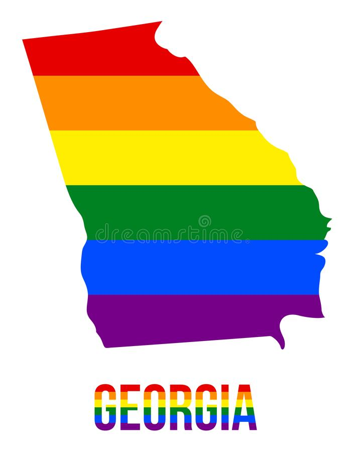 Georgia State Map in LGBT Rainbow Flag Comprised Six Stripes With Georgia LGBT Text. The Flag Comprised Six Stripes; Meaning to Each of The Colors: Life stock illustration