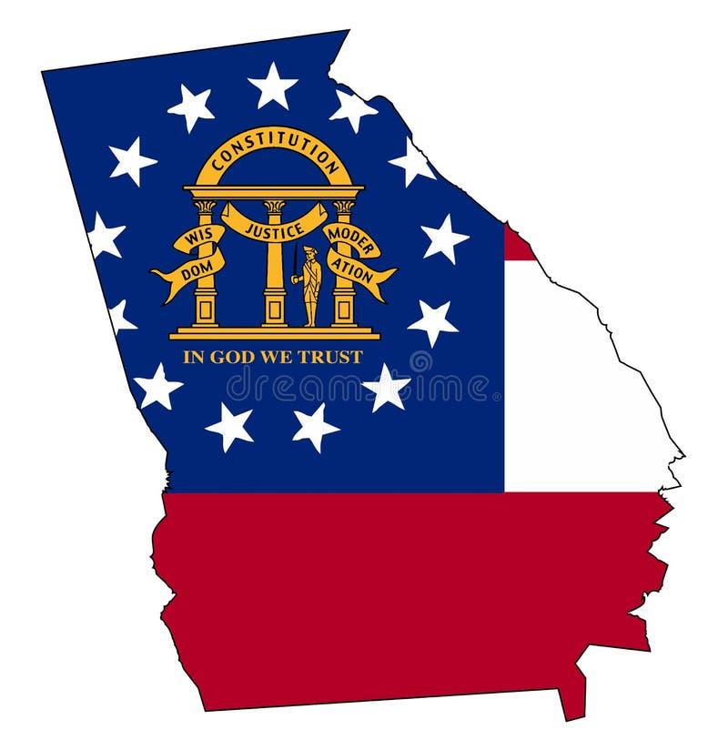 Georgia State Outline Map och skyddsremsa royaltyfri illustrationer