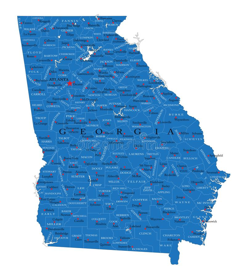 Georgia state political map royalty free stock photo