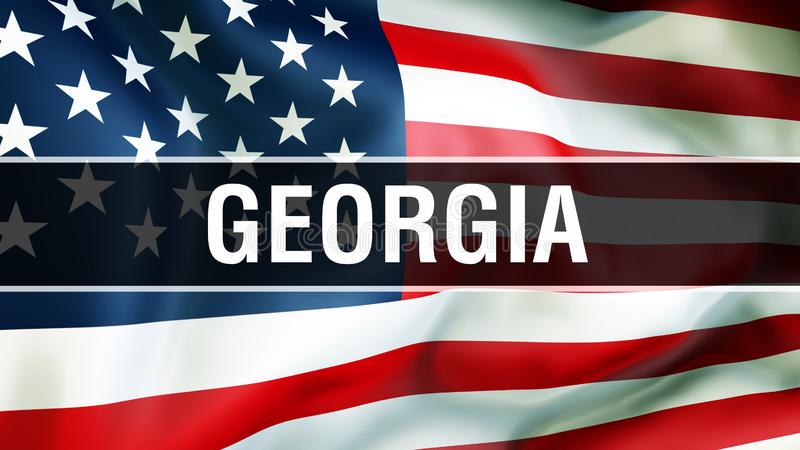 Georgia state on a USA flag background, 3D rendering. United States of America flag waving in the wind. Proud American Flag Waving stock illustration