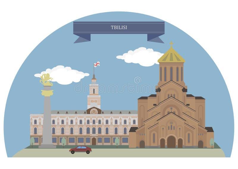 georgia tbilisi royaltyfri illustrationer