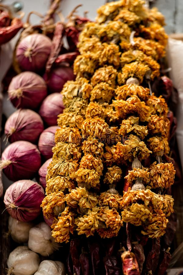 Georgia, Tbilisi, The central city market. Onion and garlic braids.  royalty free stock photography