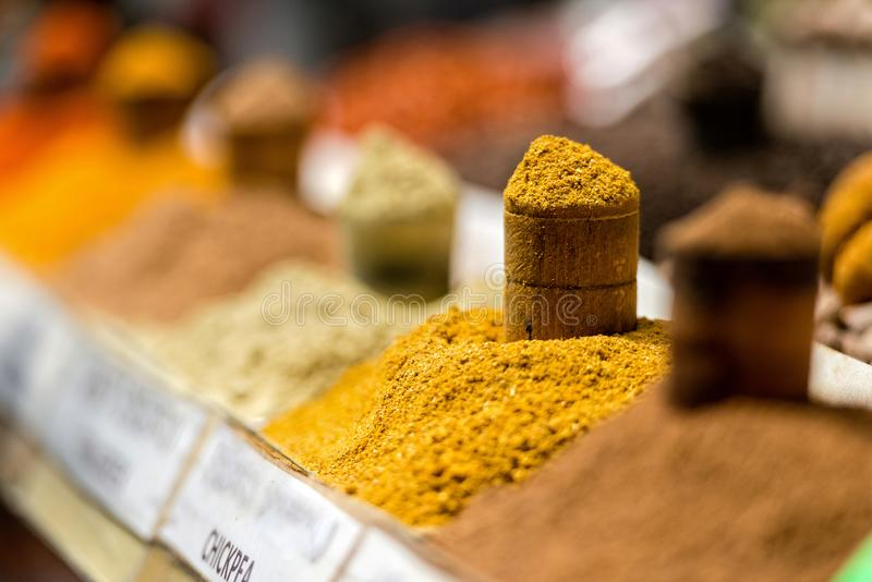 Georgia, Tbilisi, The central city market. Traps with different spices.  stock photos